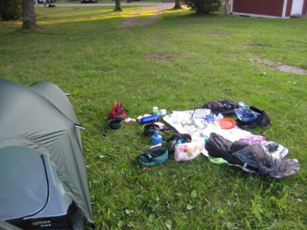 A camping cyclist's mess
