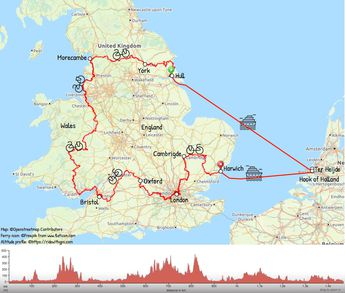 2070 kilometers through England and Wales